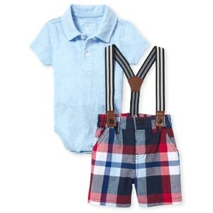 Polo with shorts and suspenders